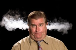 A man is angry and venting smoke